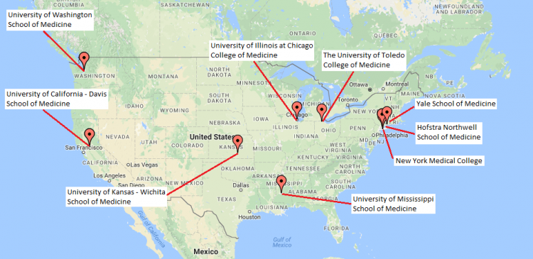 Map of Medical Schools from which the Class of 2021 has come
