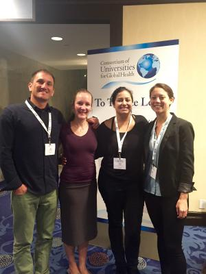 Former Residents, Alumni, faculty and our current Global Health Fellow gathered at CUGH (Consortium of Universities in Global Health) in D.C. April 2017. From Left: Ryan Ernst, Jodie Totten, Sachita Shah, Hayes Wong