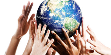 Several Hands Touching Globe